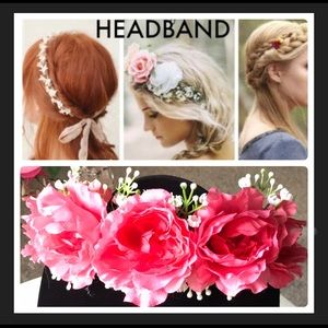 Pink/white floral headband 🌺